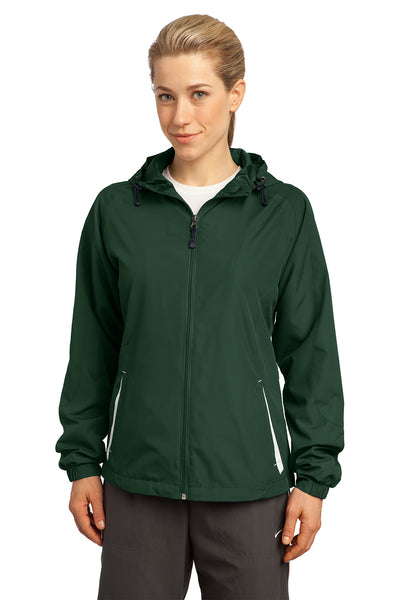 Sport-Tek LST76 Womens Water Resistant Full Zip Hooded Jacket Forest Green Front
