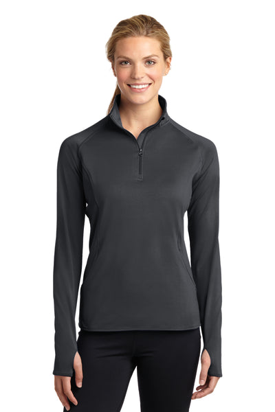 Sport-Tek LST850 Womens Sport-Wick Moisture Wicking 1/4 Zip Sweatshirt Charcoal Grey Front