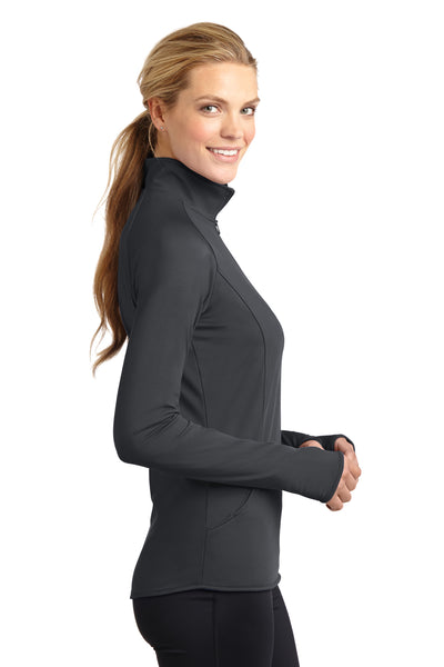 Sport-Tek LST850 Womens Sport-Wick Moisture Wicking 1/4 Zip Sweatshirt Charcoal Grey Side