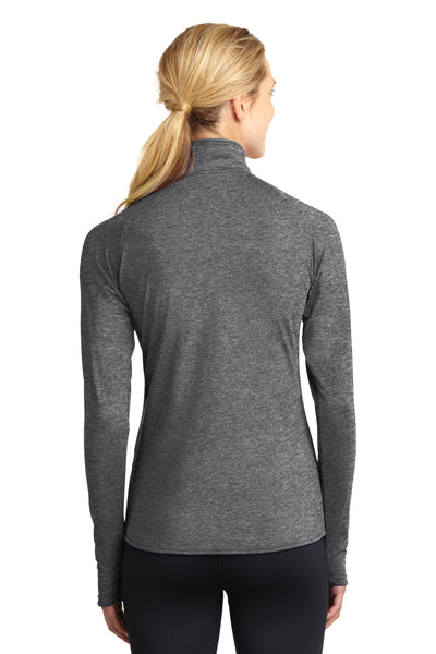 Sport-Tek LST850 Womens Sport-Wick Moisture Wicking 1/4 Zip Sweatshirt Heather Charcoal Grey Back