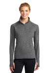 Sport-Tek LST850 Womens Sport-Wick Moisture Wicking 1/4 Zip Sweatshirt Heather Charcoal Grey Front