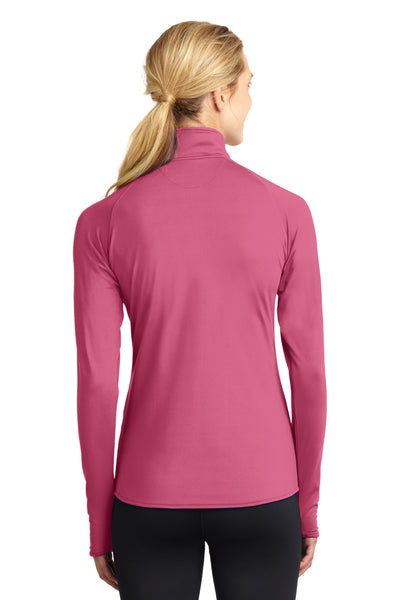 Sport-Tek LST850 Womens Sport-Wick Moisture Wicking 1/4 Zip Sweatshirt Pink Back
