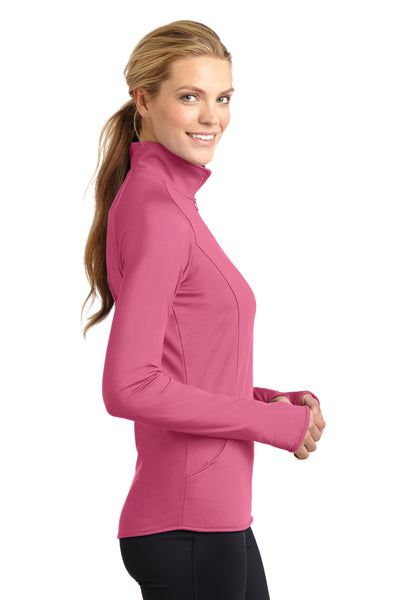 Sport-Tek LST850 Womens Sport-Wick Moisture Wicking 1/4 Zip Sweatshirt Pink Side