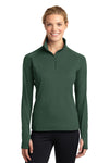 Sport-Tek LST850 Womens Sport-Wick Moisture Wicking 1/4 Zip Sweatshirt Forest Green Front