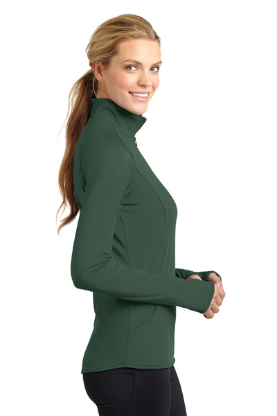 Sport-Tek LST850 Womens Sport-Wick Moisture Wicking 1/4 Zip Sweatshirt Forest Green Side