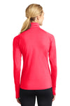 Sport-Tek LST850 Womens Sport-Wick Moisture Wicking 1/4 Zip Sweatshirt Hot Coral Pink Back