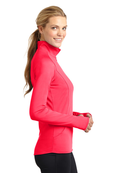 Sport-Tek LST850 Womens Sport-Wick Moisture Wicking 1/4 Zip Sweatshirt Hot Coral Pink Side