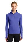 Sport-Tek LST850 Womens Sport-Wick Moisture Wicking 1/4 Zip Sweatshirt Iris Purple Front