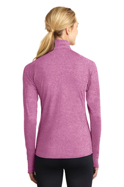 Sport-Tek LST850 Womens Sport-Wick Moisture Wicking 1/4 Zip Sweatshirt Heather Pink Rush Back