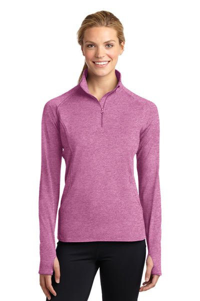 Sport-Tek LST850 Womens Sport-Wick Moisture Wicking 1/4 Zip Sweatshirt Heather Pink Rush Front