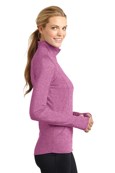 Sport-Tek LST850 Womens Sport-Wick Moisture Wicking 1/4 Zip Sweatshirt Heather Pink Rush Side