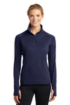 Sport-Tek LST850 Womens Sport-Wick Moisture Wicking 1/4 Zip Sweatshirt Navy Blue Front