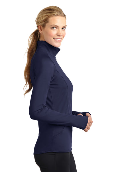 Sport-Tek LST850 Womens Sport-Wick Moisture Wicking 1/4 Zip Sweatshirt Navy Blue Side