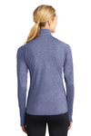 Sport-Tek LST850 Womens Sport-Wick Moisture Wicking 1/4 Zip Sweatshirt Heather Navy Blue Back