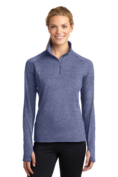 Sport-Tek LST850 Womens Sport-Wick Moisture Wicking 1/4 Zip Sweatshirt Heather Navy Blue Front