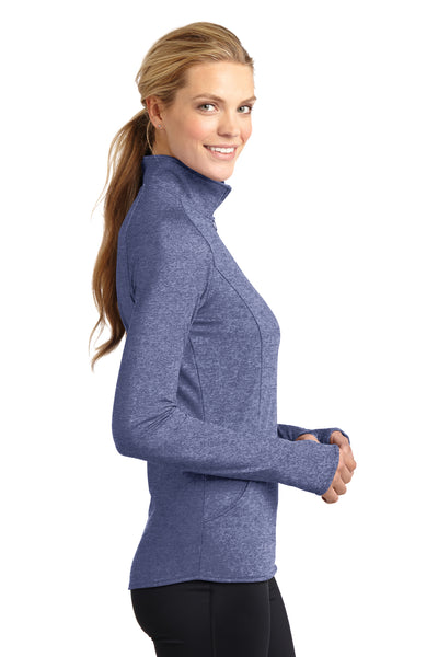 Sport-Tek LST850 Womens Sport-Wick Moisture Wicking 1/4 Zip Sweatshirt Heather Navy Blue Side