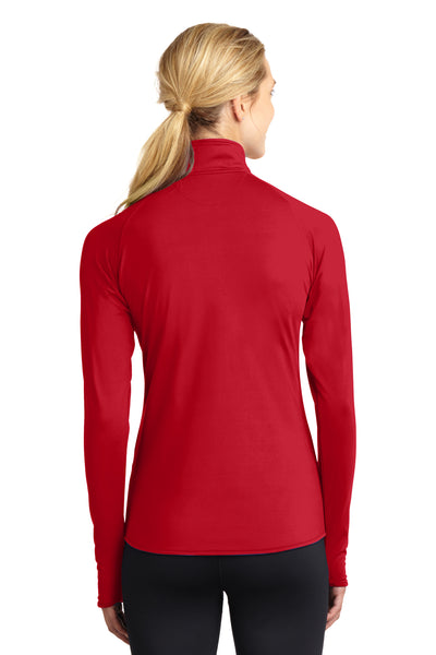 Sport-Tek LST850 Womens Sport-Wick Moisture Wicking 1/4 Zip Sweatshirt Red Back