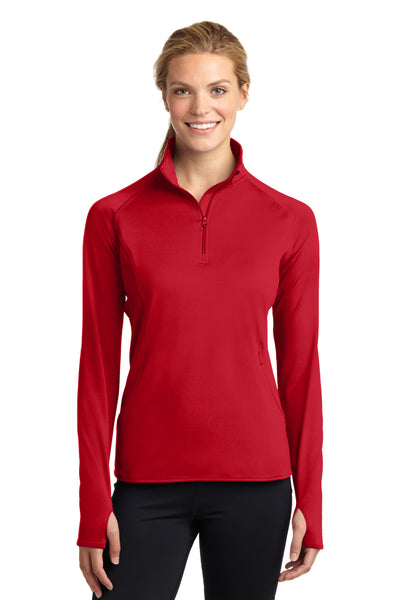 Sport-Tek LST850 Womens Sport-Wick Moisture Wicking 1/4 Zip Sweatshirt Red Front