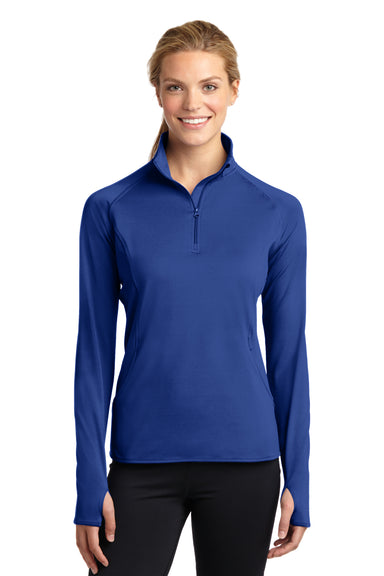 Sport-Tek LST850 Womens Sport-Wick Moisture Wicking 1/4 Zip Sweatshirt Royal Blue Front