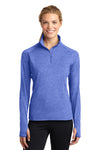 Sport-Tek LST850 Womens Sport-Wick Moisture Wicking 1/4 Zip Sweatshirt Heather Royal Blue Front