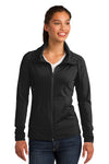 Sport-Tek LST852 Womens Sport-Wick Moisture Wicking Full Zip Jacket Black Front