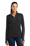 Sport-Tek LST861 Womens Sport-Wick Moisture Wicking 1/4 Zip Sweatshirt Black/Grey Front