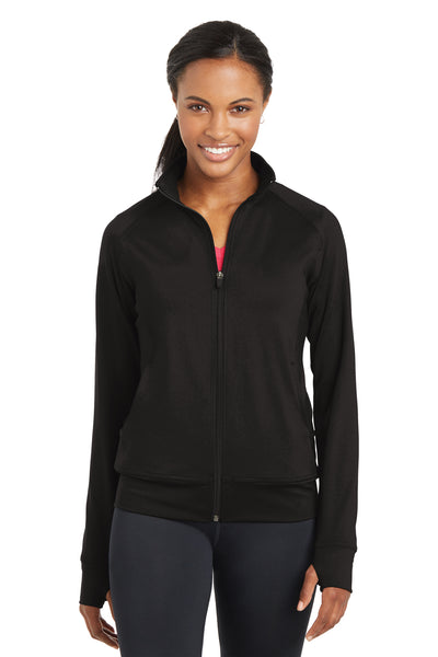 Sport-Tek LST885 Womens NRG Full Zip Sweatshirt Black Front