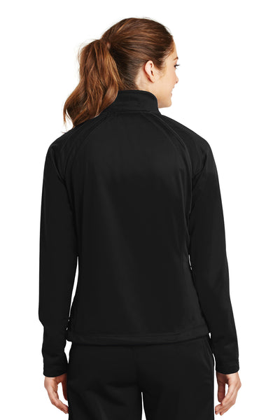 Sport-Tek LST90 Womens Full Zip Track Jacket Black Back