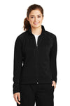 Sport-Tek LST90 Womens Full Zip Track Jacket Black Front
