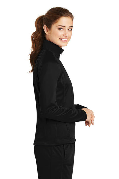 Sport-Tek LST90 Womens Full Zip Track Jacket Black Side