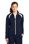 Sport-Tek LST90 Womens Full Zip Track Jacket Navy Blue Front