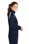 Sport-Tek LST90 Womens Full Zip Track Jacket Navy Blue Side