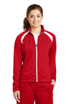 Sport-Tek LST90 Womens Full Zip Track Jacket Red Front