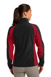 Sport-Tek LST970 Womens Water Resistant Full Zip Jacket Black/Red Back