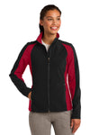 Sport-Tek LST970 Womens Water Resistant Full Zip Jacket Black/Red Front