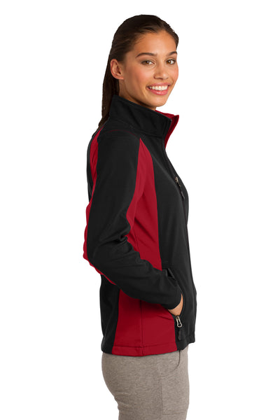 Sport-Tek LST970 Womens Water Resistant Full Zip Jacket Black/Red Side