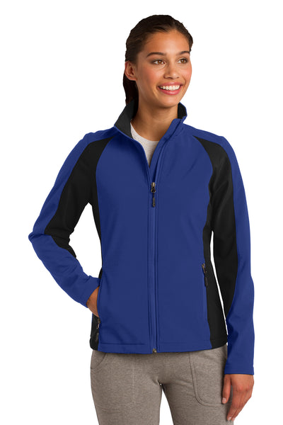 Sport-Tek LST970 Womens Water Resistant Full Zip Jacket Royal Blue/Black Front
