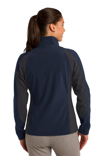 Sport-Tek LST970 Womens Water Resistant Full Zip Jacket Navy Blue/Grey Back