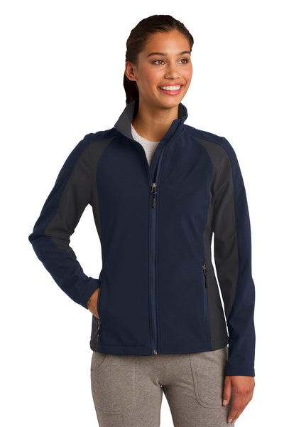 Sport-Tek LST970 Womens Water Resistant Full Zip Jacket Navy Blue/Grey Front