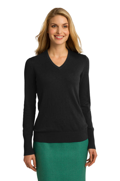 Port Authority LSW285 Womens Long Sleeve V-Neck Sweater Black Front