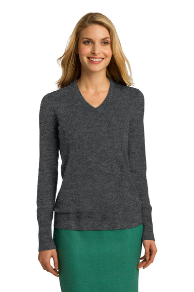 Port Authority LSW285 Womens Long Sleeve V-Neck Sweater Heather Charcoal Grey Front
