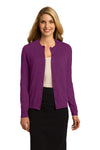Port Authority LSW287 Womens Long Sleeve Cardigan Sweater Berry Purple Front
