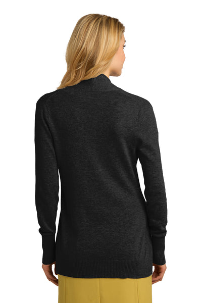Port Authority LSW289 Womens Long Sleeve Cardigan Sweater Black Back