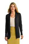 Port Authority LSW289 Womens Long Sleeve Cardigan Sweater Black Front
