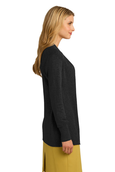 Port Authority LSW289 Womens Long Sleeve Cardigan Sweater Black Side