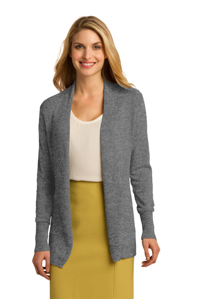 Port Authority LSW289 Womens Long Sleeve Cardigan Sweater Heather Medium Grey Front