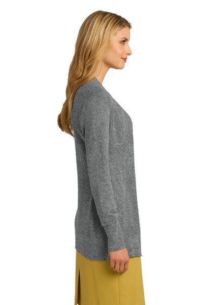 Port Authority LSW289 Womens Long Sleeve Cardigan Sweater Heather Medium Grey Side