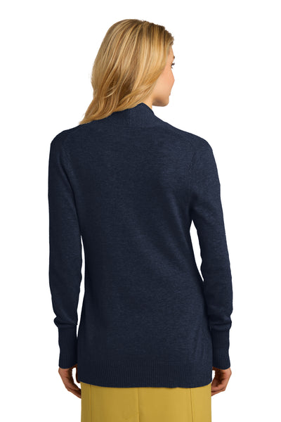 Port Authority LSW289 Womens Long Sleeve Cardigan Sweater Navy Blue Back