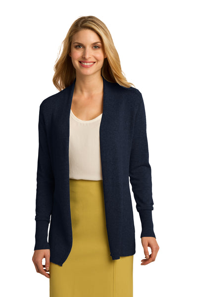 Port Authority LSW289 Womens Long Sleeve Cardigan Sweater Navy Blue Front