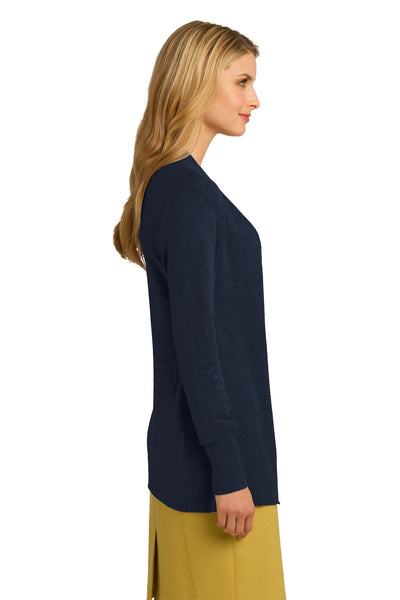 Port Authority LSW289 Womens Long Sleeve Cardigan Sweater Navy Blue Side